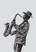 Hand sketch saxophonist