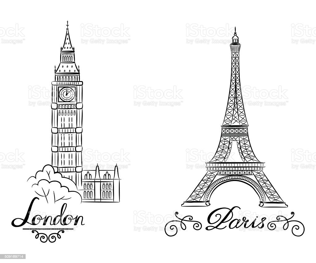 hand sketch World famous landmark collection : Big Ben London vector art illustration