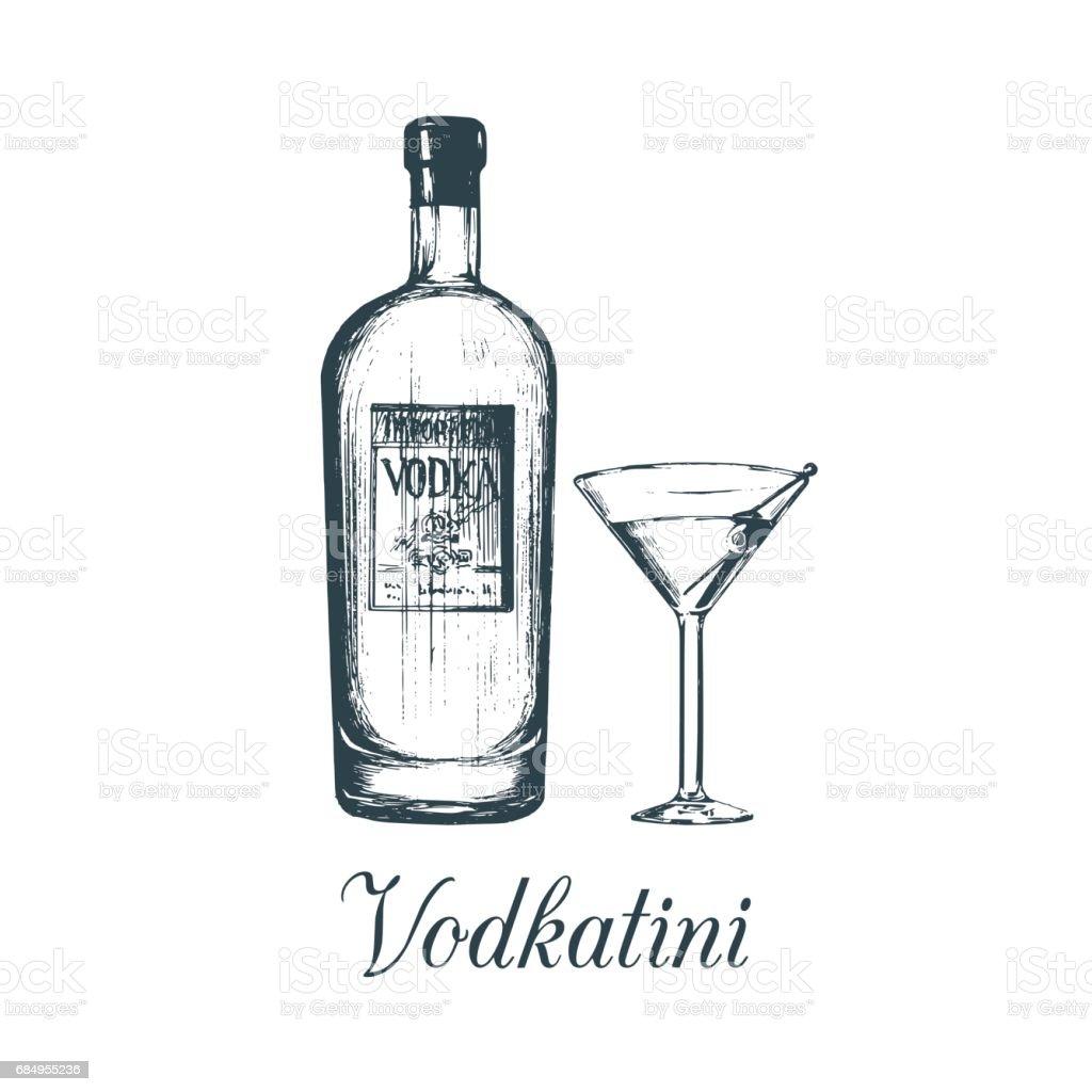 Hand sketched vodka bottle and vodkatini glass. Alcoholic drink set drawing.Vector illustration of traditional cocktail. vector art illustration