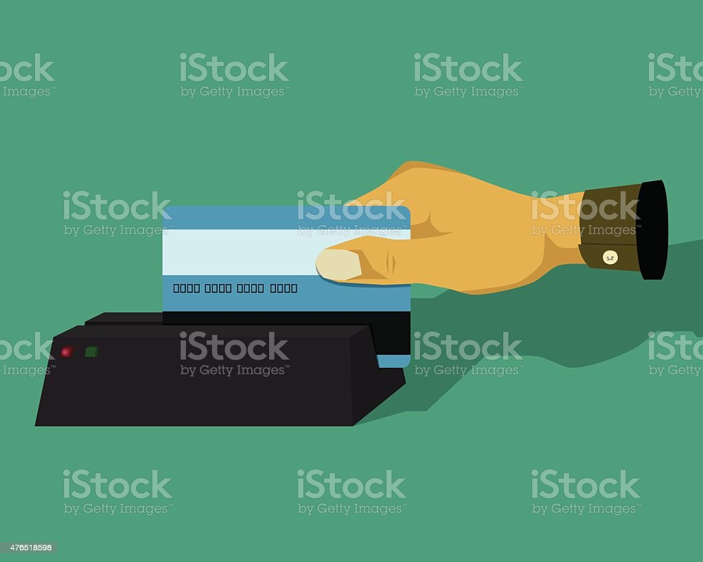 Hand swiping credit card vector art illustration