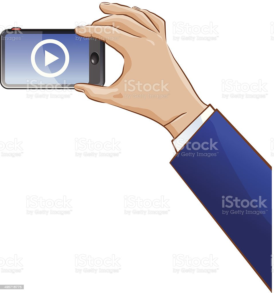 Hand taking a video using a cellphone vector art illustration