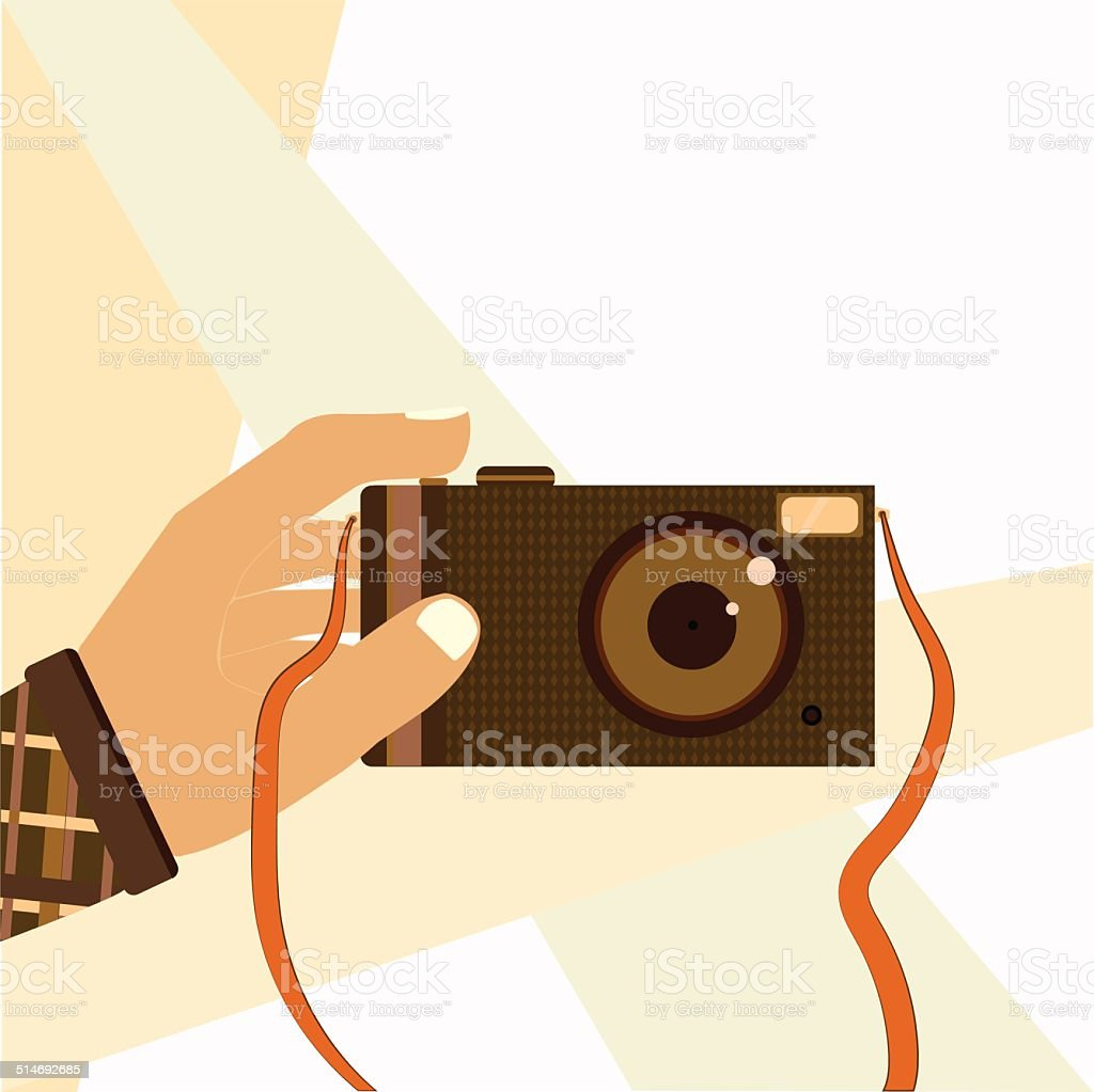 Hand taking selfie shot with retro photo camera modern vector art illustration