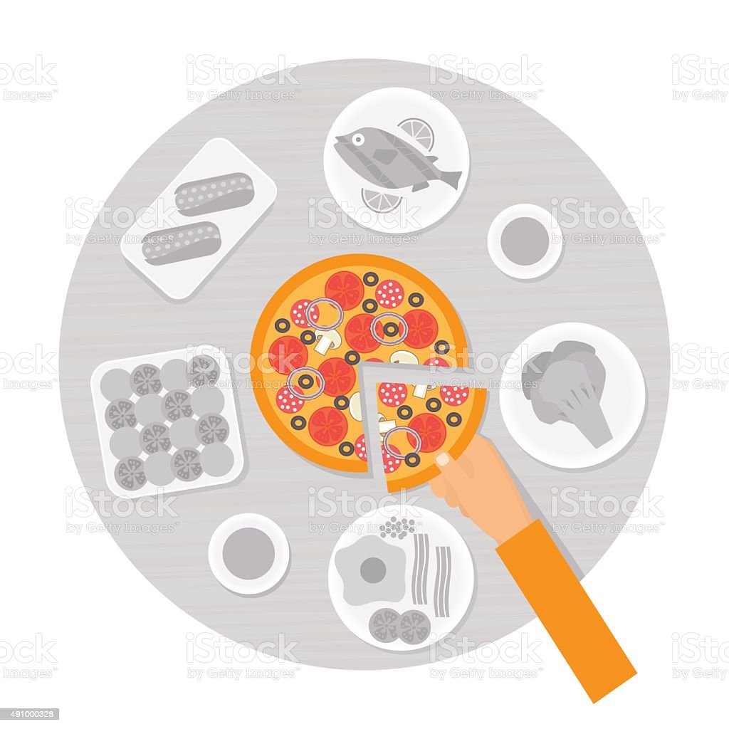 Hand taking slice of pizza from the table. Flat design vector art illustration