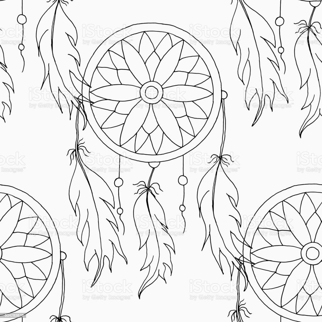 main pour dessiner un motif sans couture portebonheur indien stock vecteur libres de droits. Black Bedroom Furniture Sets. Home Design Ideas