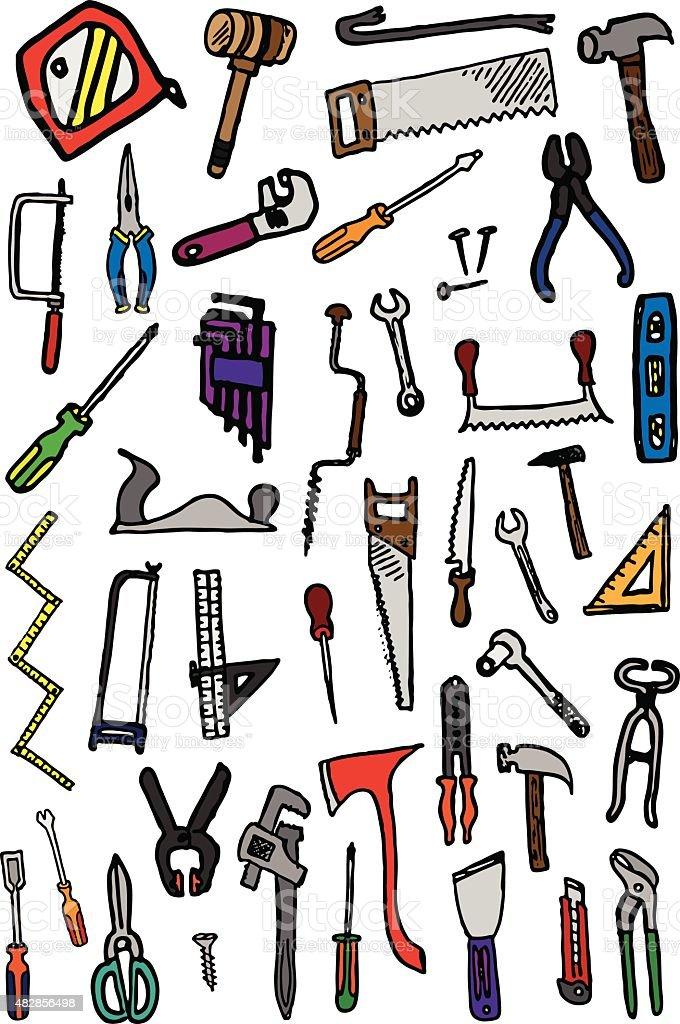 Hand Tool Doodles vector art illustration