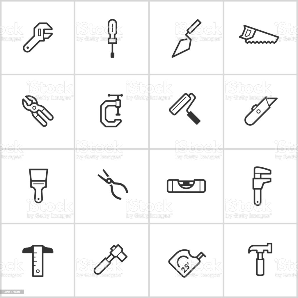 Hand Tool Icons — Inky Series vector art illustration