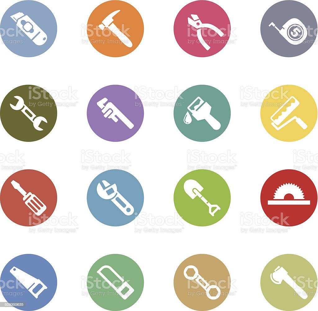 hand tool icons vector art illustration