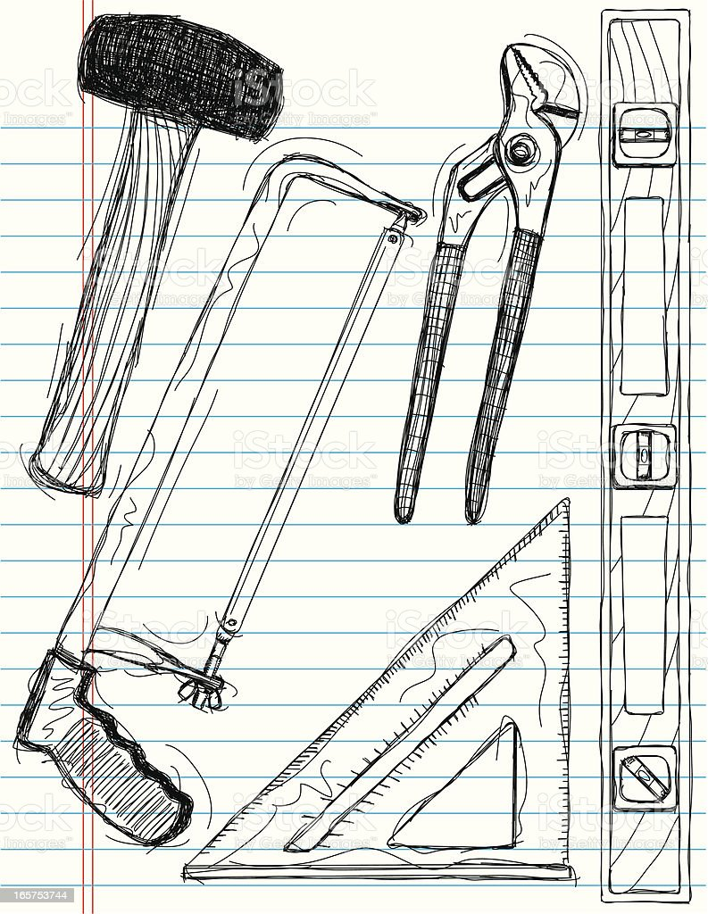 hand tool sketches vector art illustration