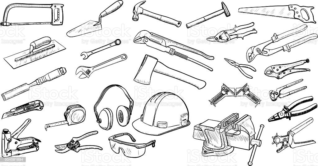 Hand Tools collection vector art illustration