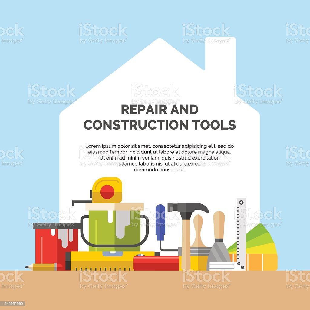Hand tools for home renovation vector art illustration
