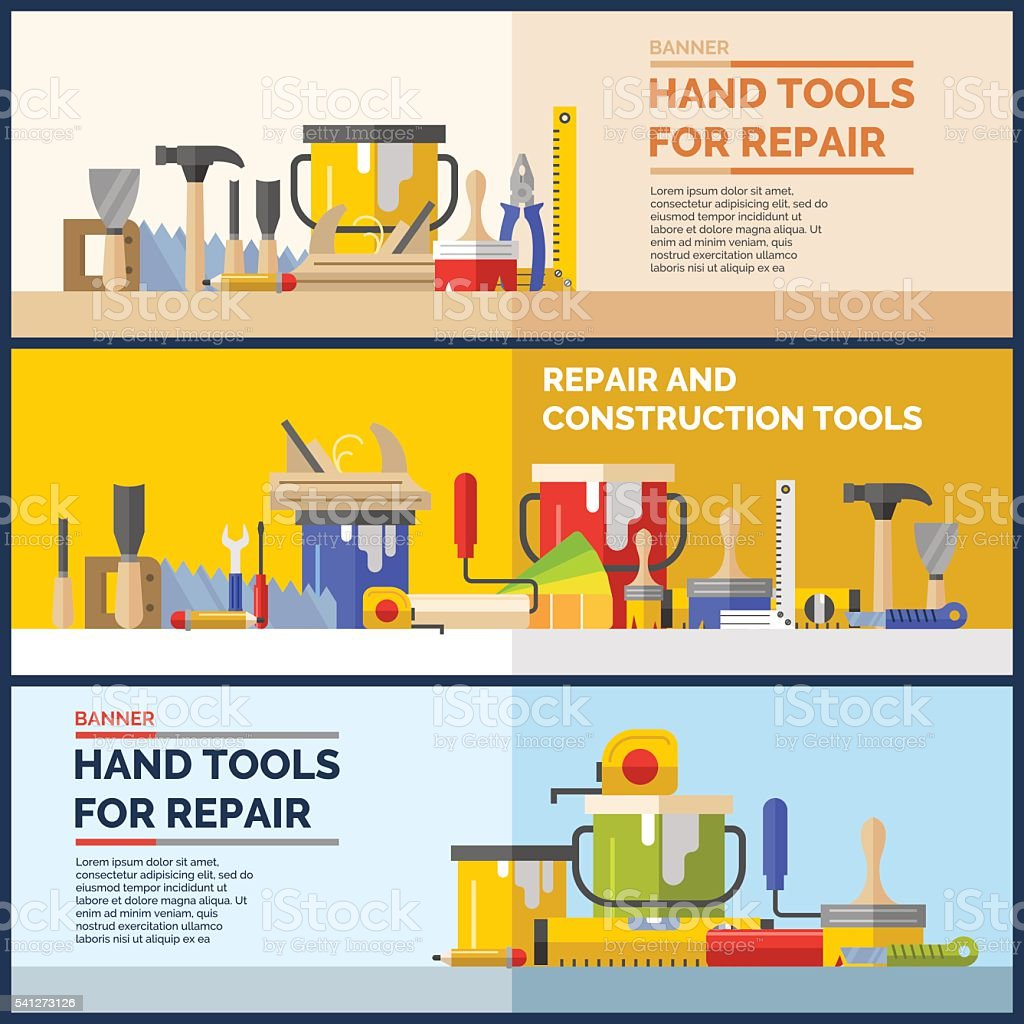 Hand tools for repare of house vector art illustration