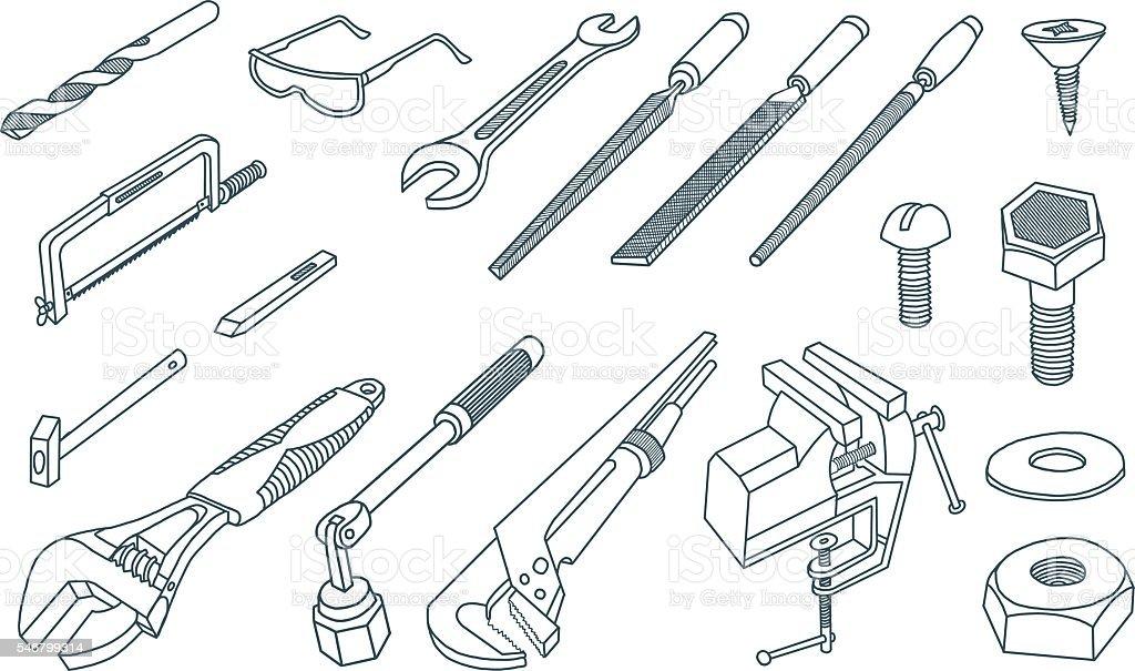 Hand tools hand-drawing vector vector art illustration