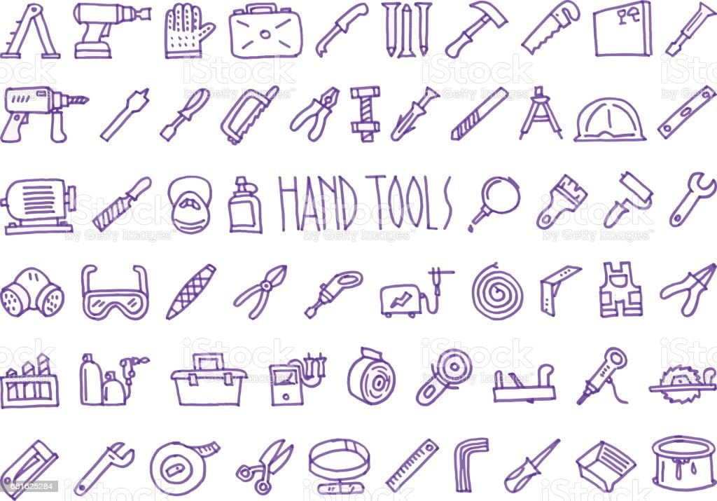 Hand tools  icons drawn with a felt-tip pen set vector art illustration
