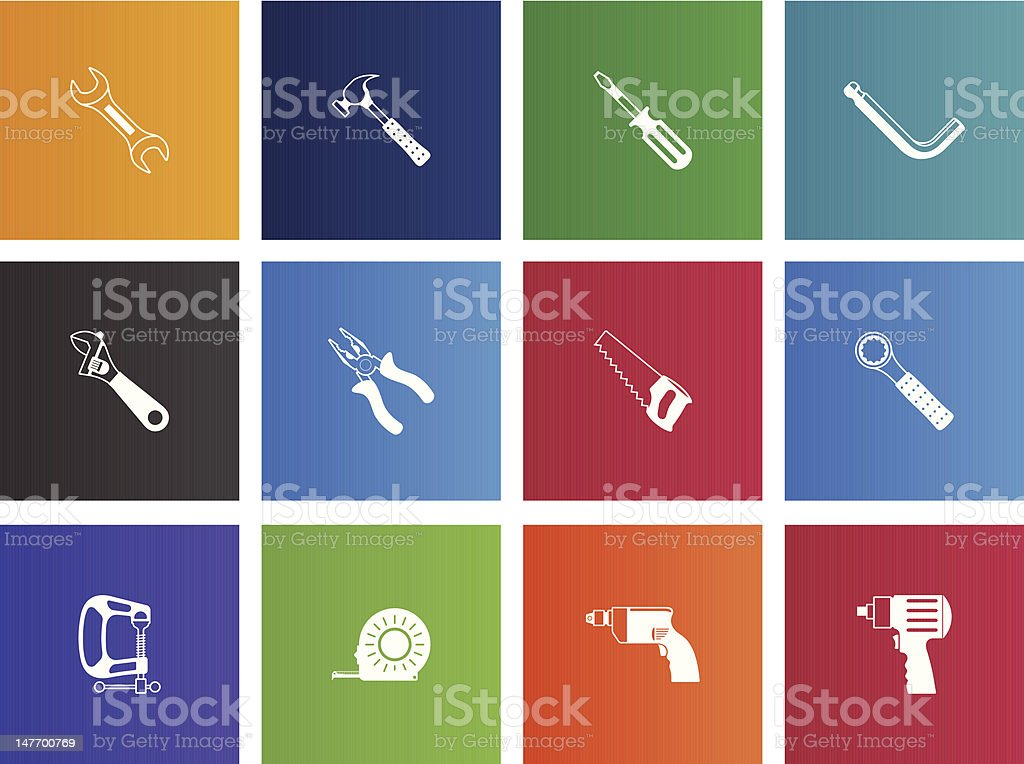 Hand Tools Icons vector art illustration