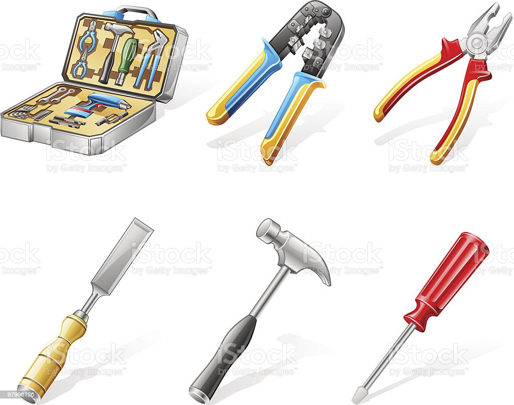 Hand tools: network wire crimper, pliers, chisel, hammer, screwdriver, toolbox vector art illustration