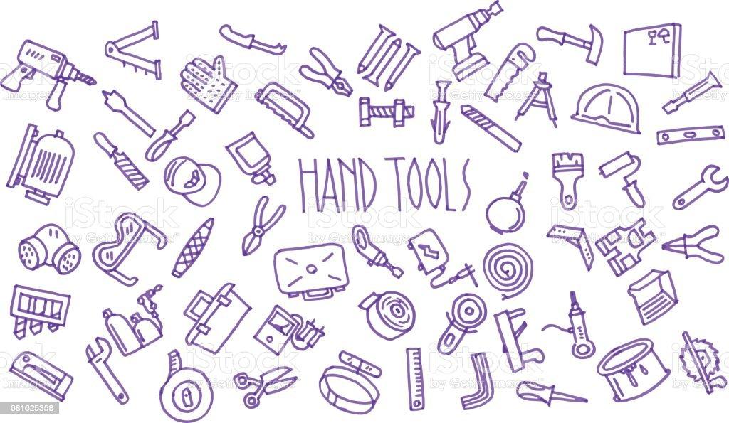 Hand tools  pattern drawn with a felt-tip pen set vector art illustration