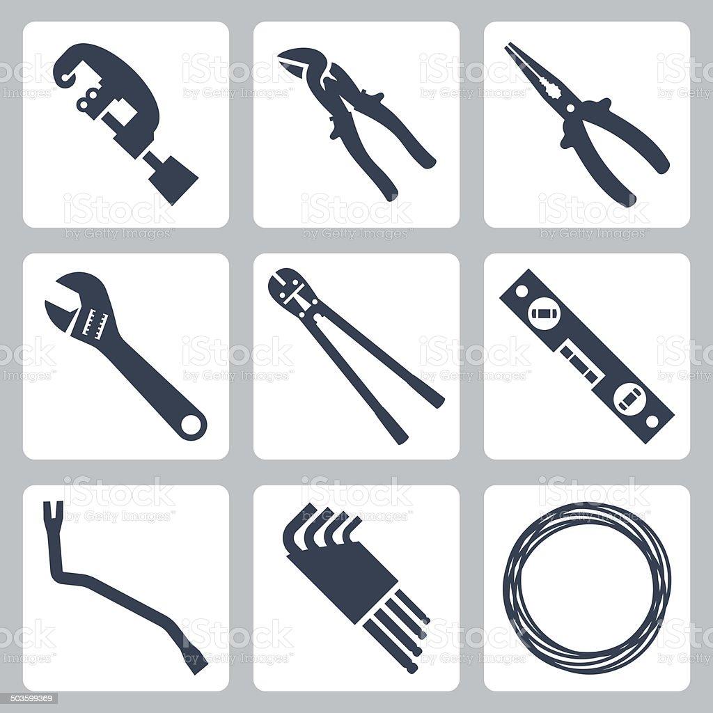Hand tools vector icons set vector art illustration
