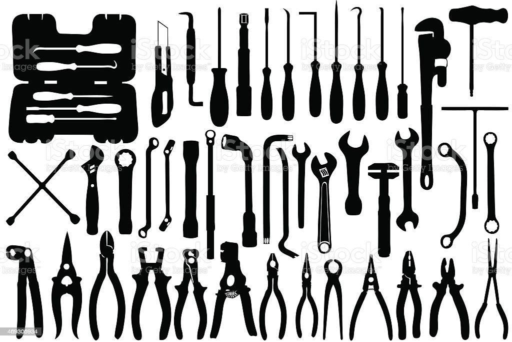 Hand tools vector art illustration