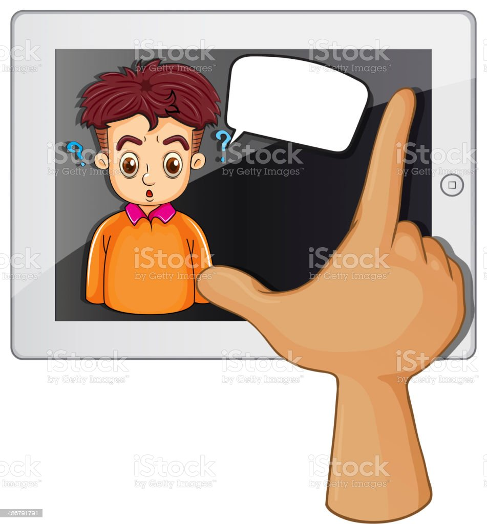 hand touching a gadget with man thinking royalty-free stock vector art
