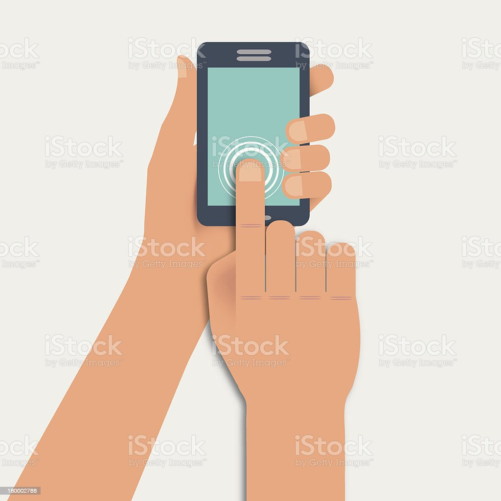 Hand touching a smartphone royalty-free stock vector art