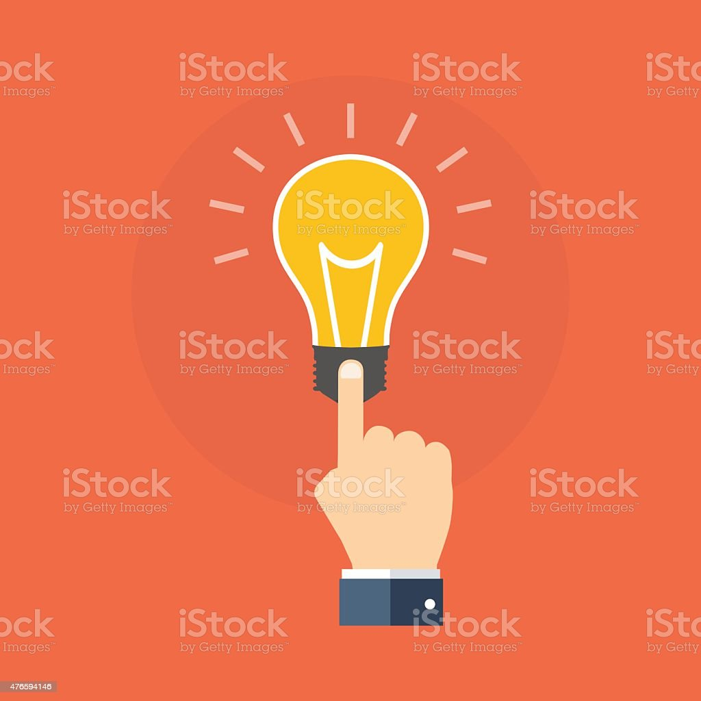 Hand touching light bulb. Know how concept. Flat design. vector art illustration