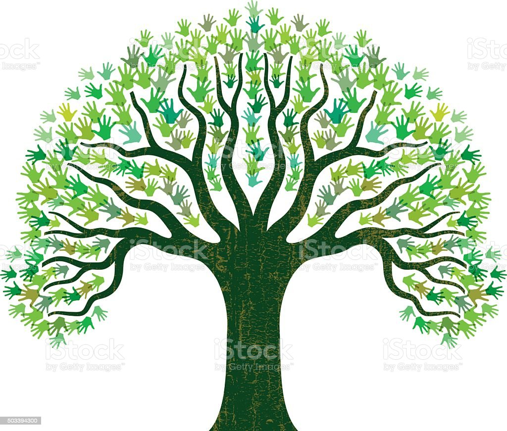 Hand tree illustration vector art illustration