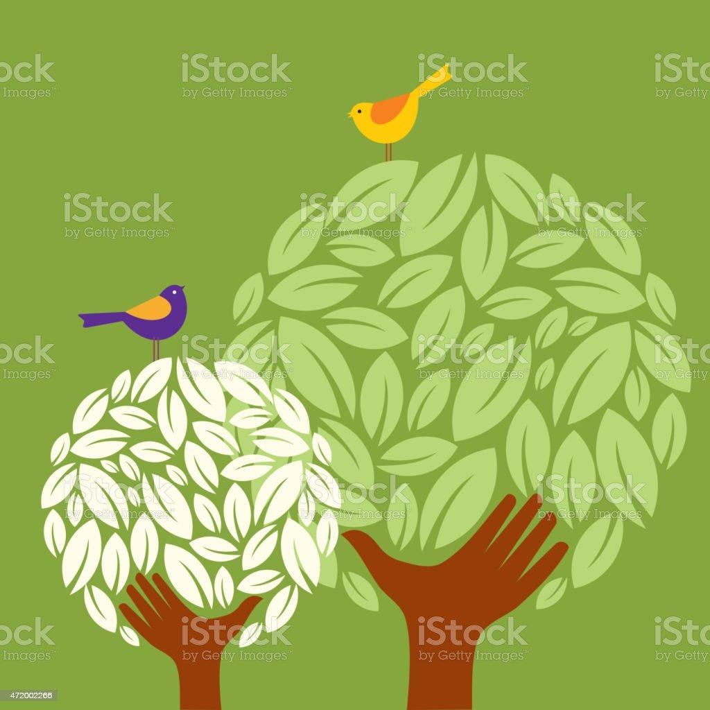 hand tree vector art illustration