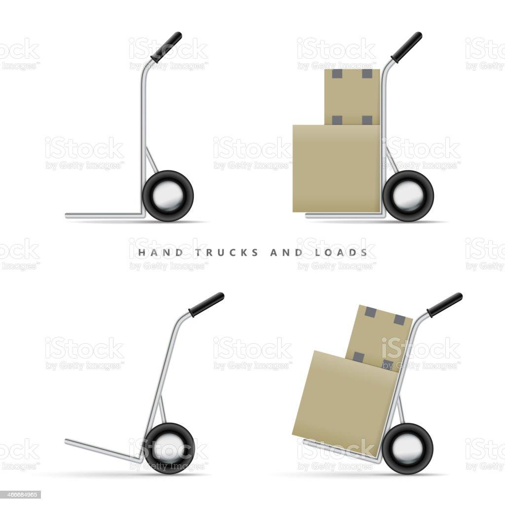 Hand Truck and Loads vector art illustration