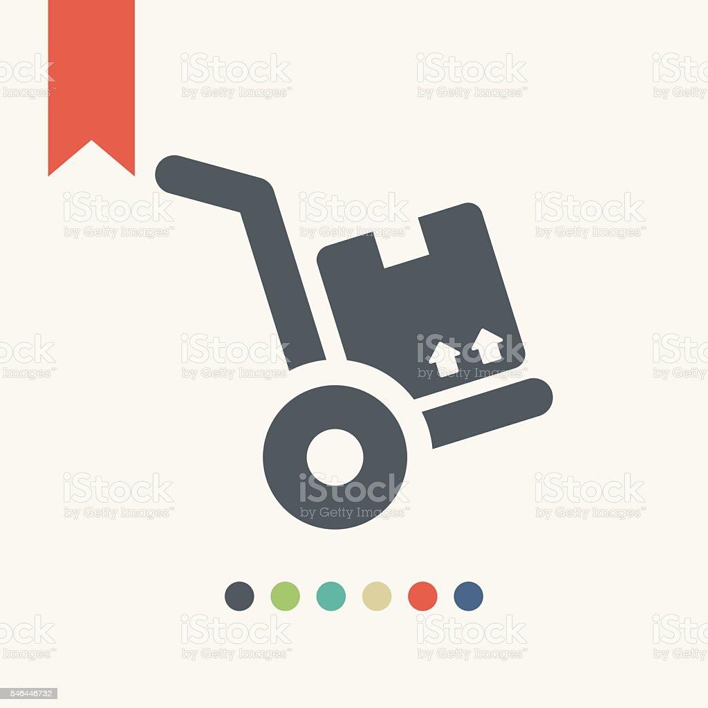 hand truck icon vector art illustration