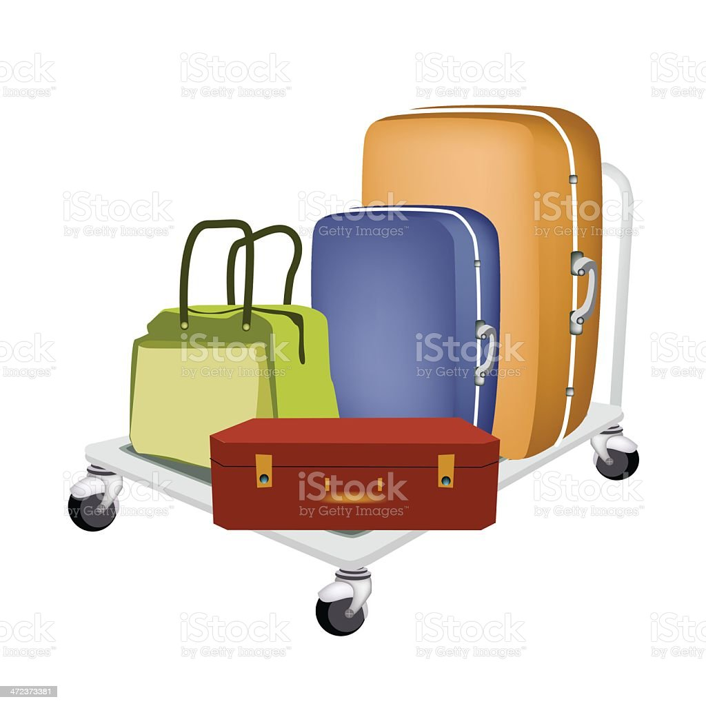 Hand Truck Loading Luggages and Bag royalty-free stock vector art