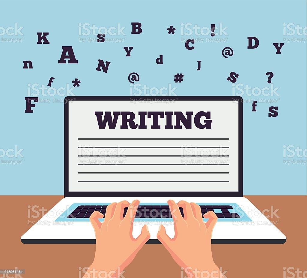 Hand typing on laptop. Vector flat cartoon illustration vector art illustration