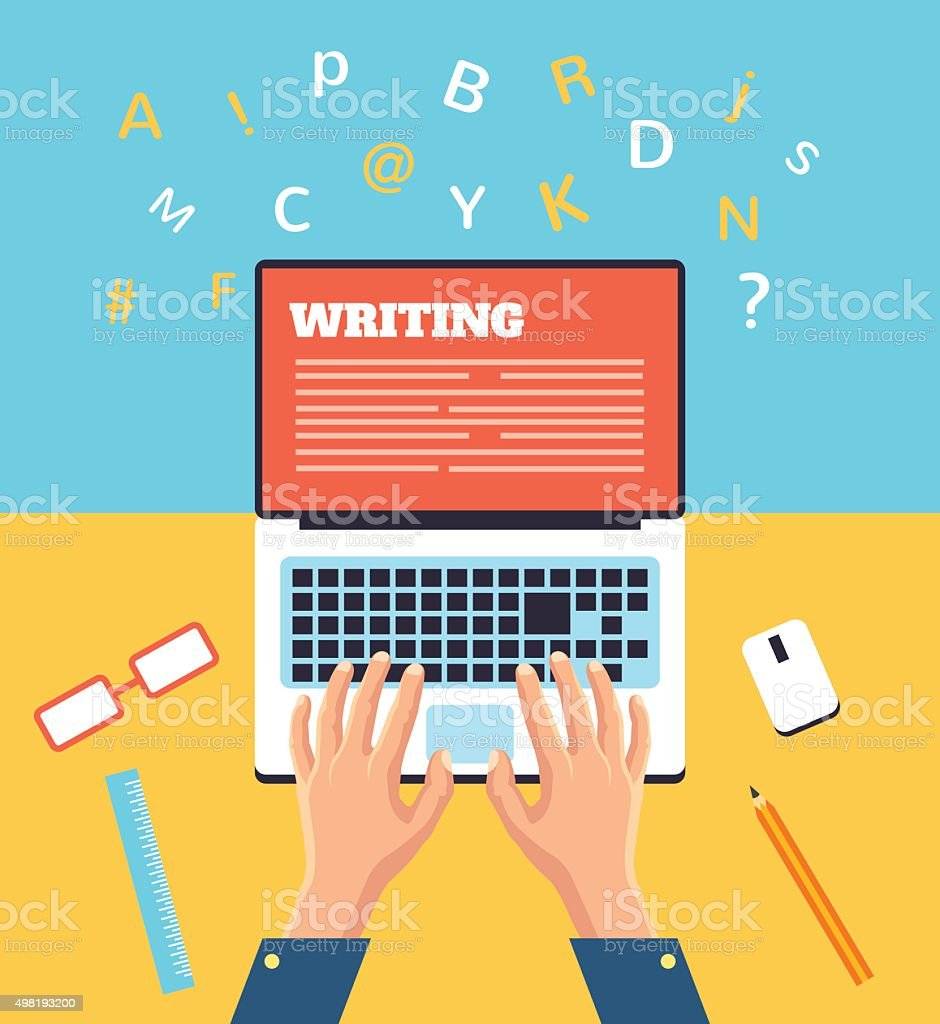 Hand typing on laptop. Vector flat illustration vector art illustration