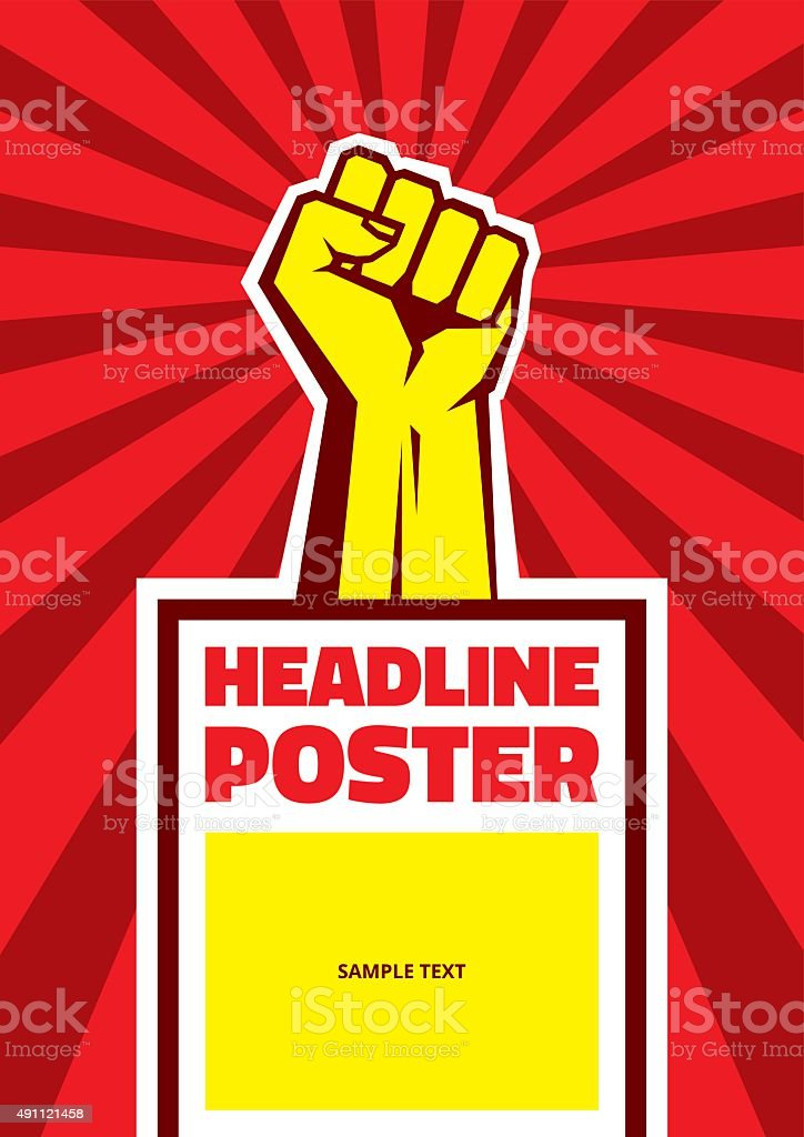 Hand up proletarian revolution - vector illustration concept vector art illustration