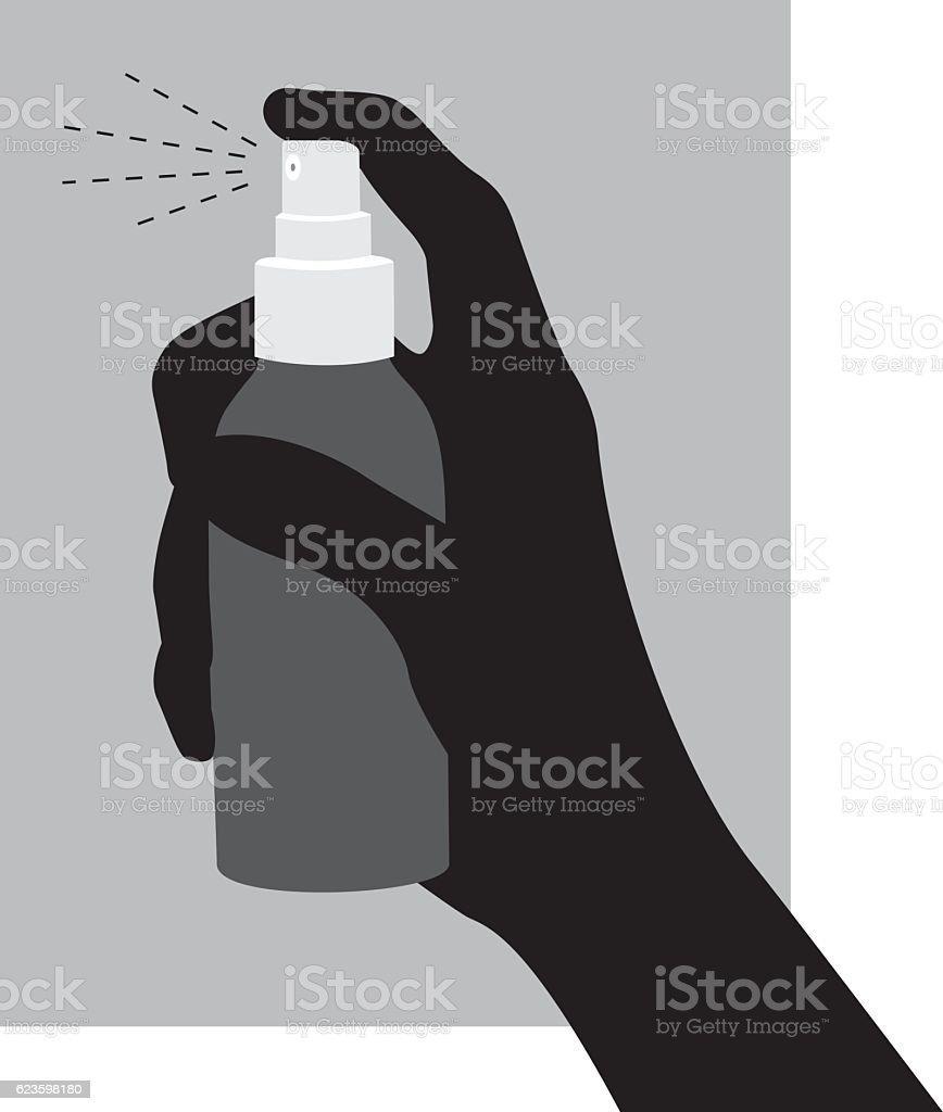 Hand Using Spray Bottle Silhouette vector art illustration
