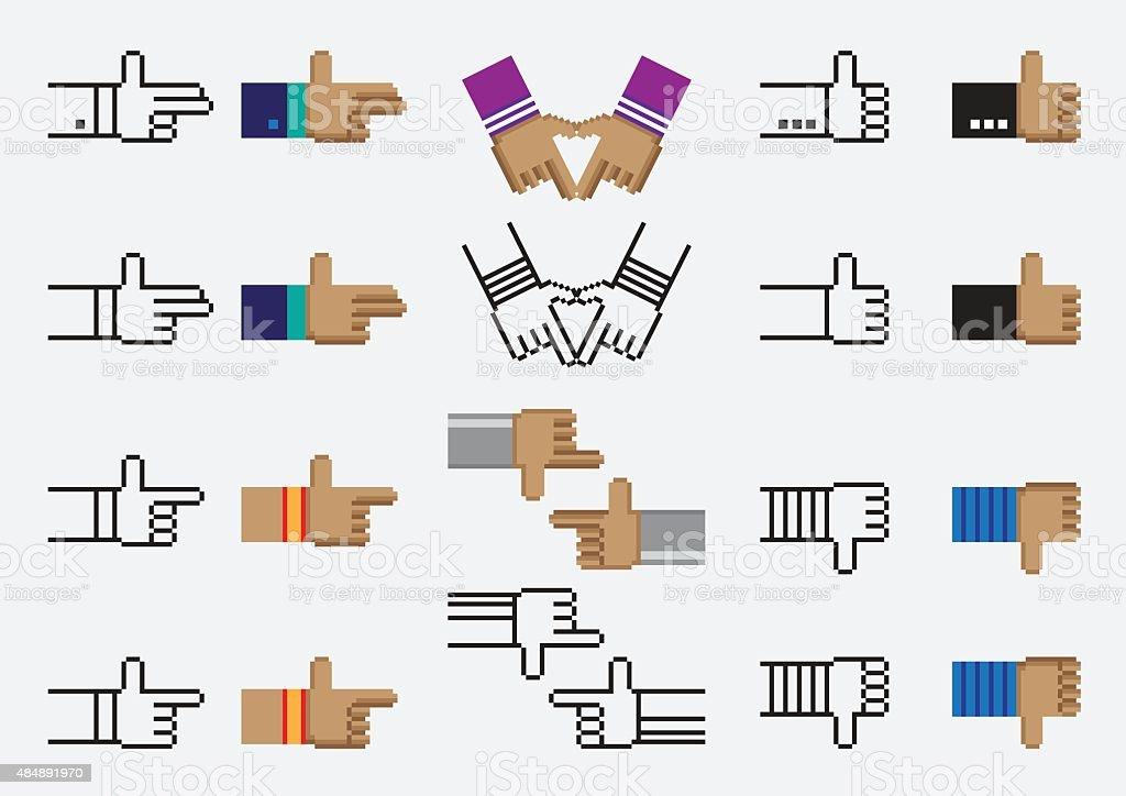 Hand vector pixel vector art illustration