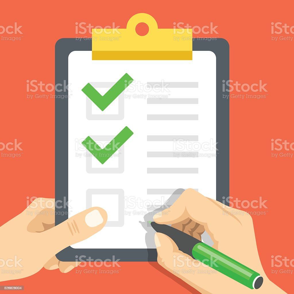 Hand wih pen and hand holds clipboard with green checkmarks vector art illustration
