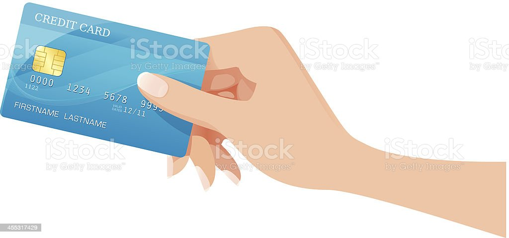 Hand with a creditcard royalty-free stock vector art