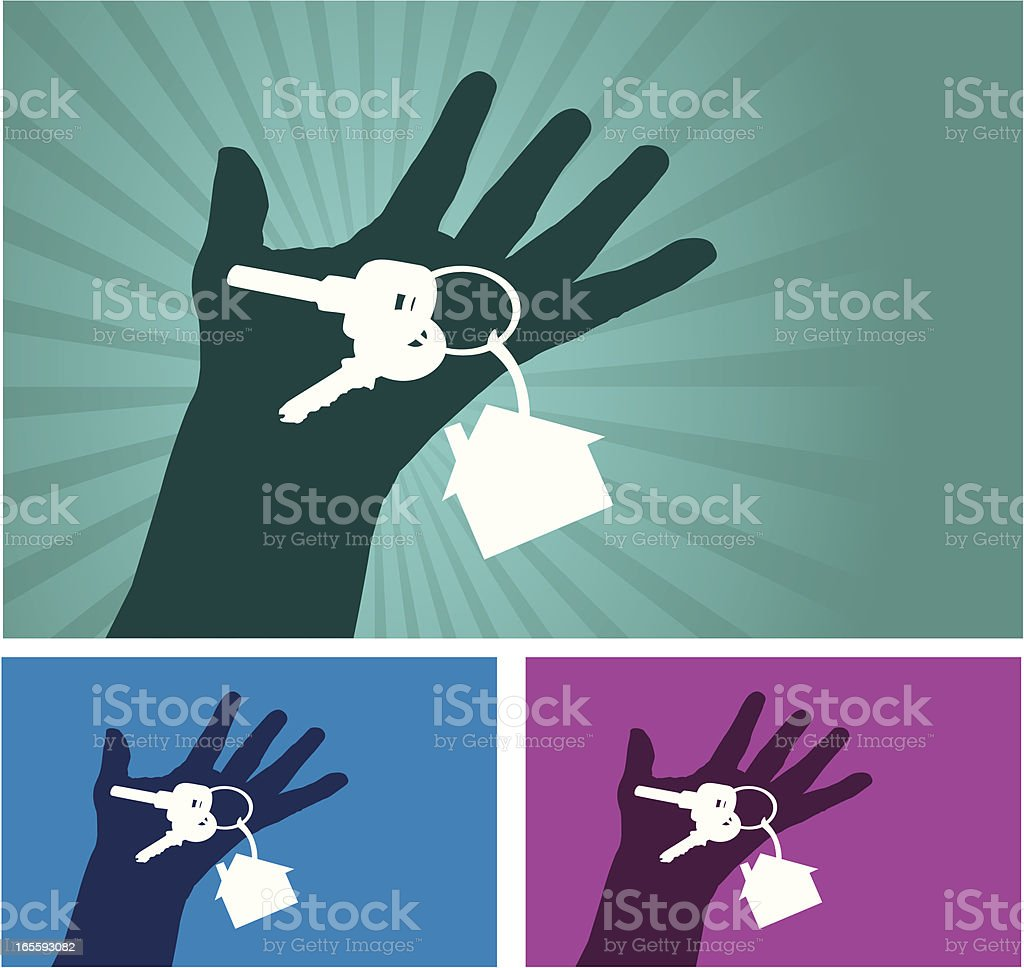 Hand with a Home keys royalty-free stock vector art