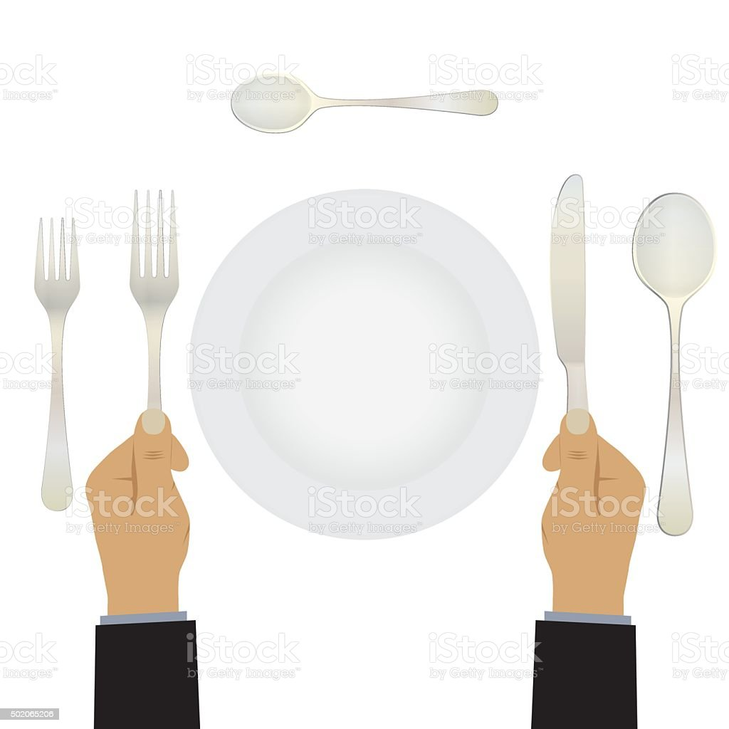 Hand with a knife and fork. Tableware. vector art illustration
