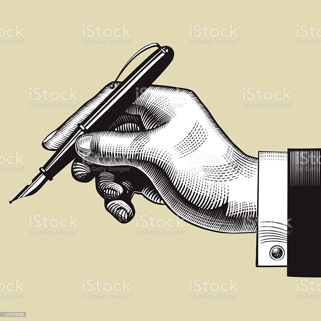 Hand with a pen vector art illustration