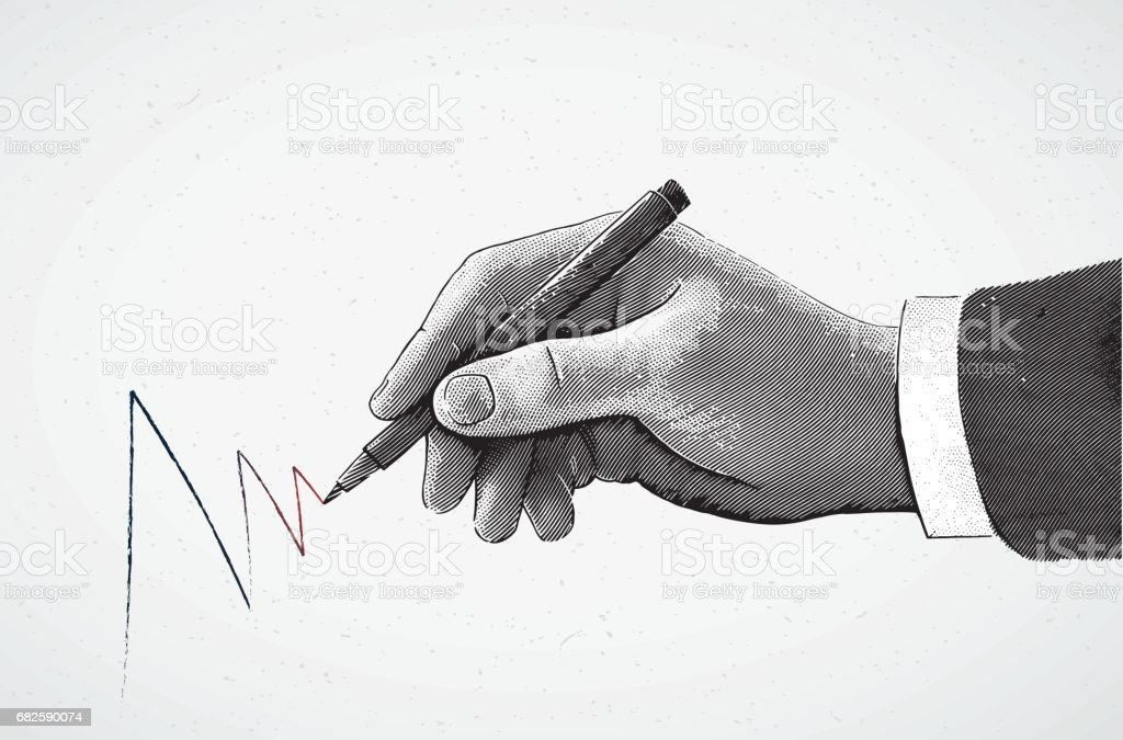Hand with a pencil. vector art illustration