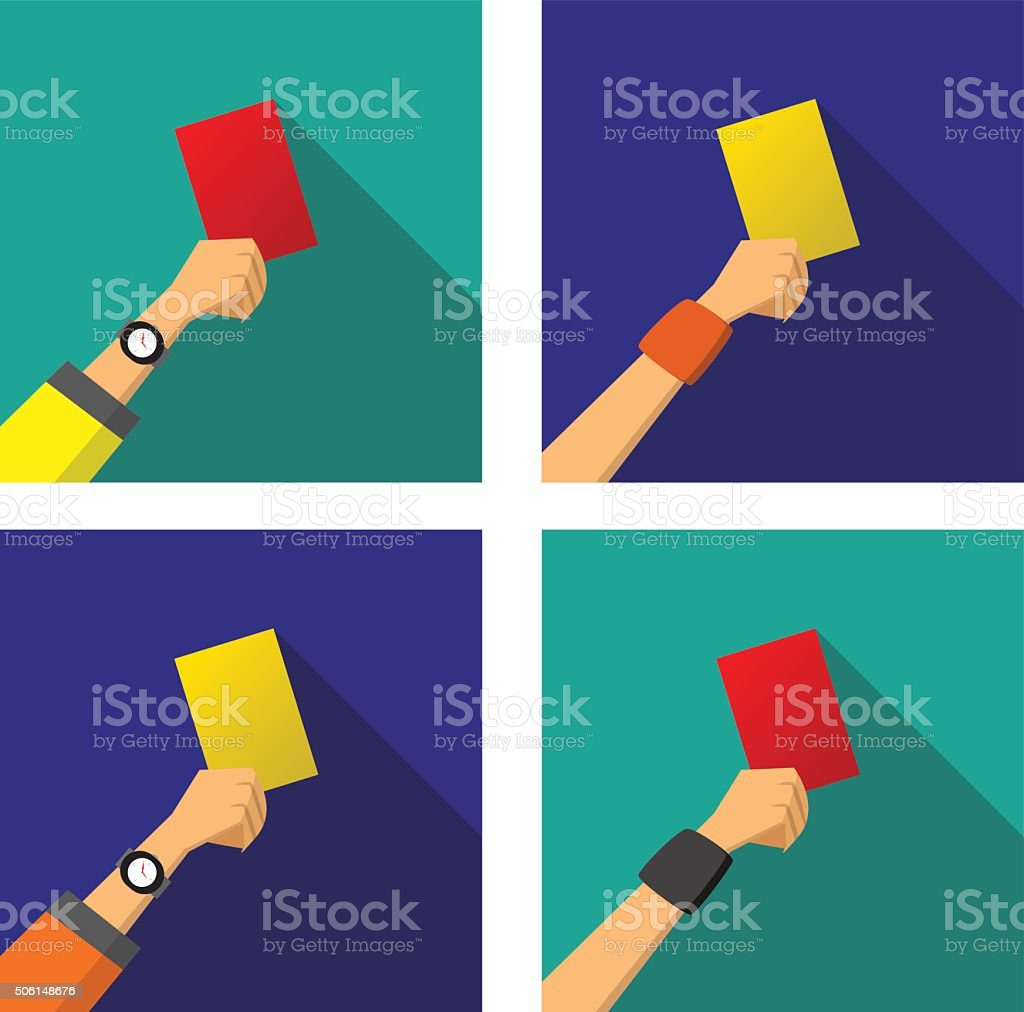Hand with a red and yellow card of football vector art illustration