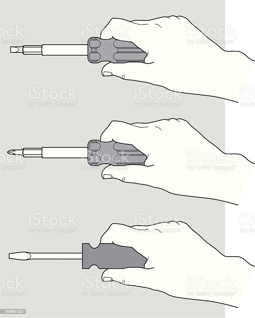 Hand with a screwdriver royalty-free stock vector art