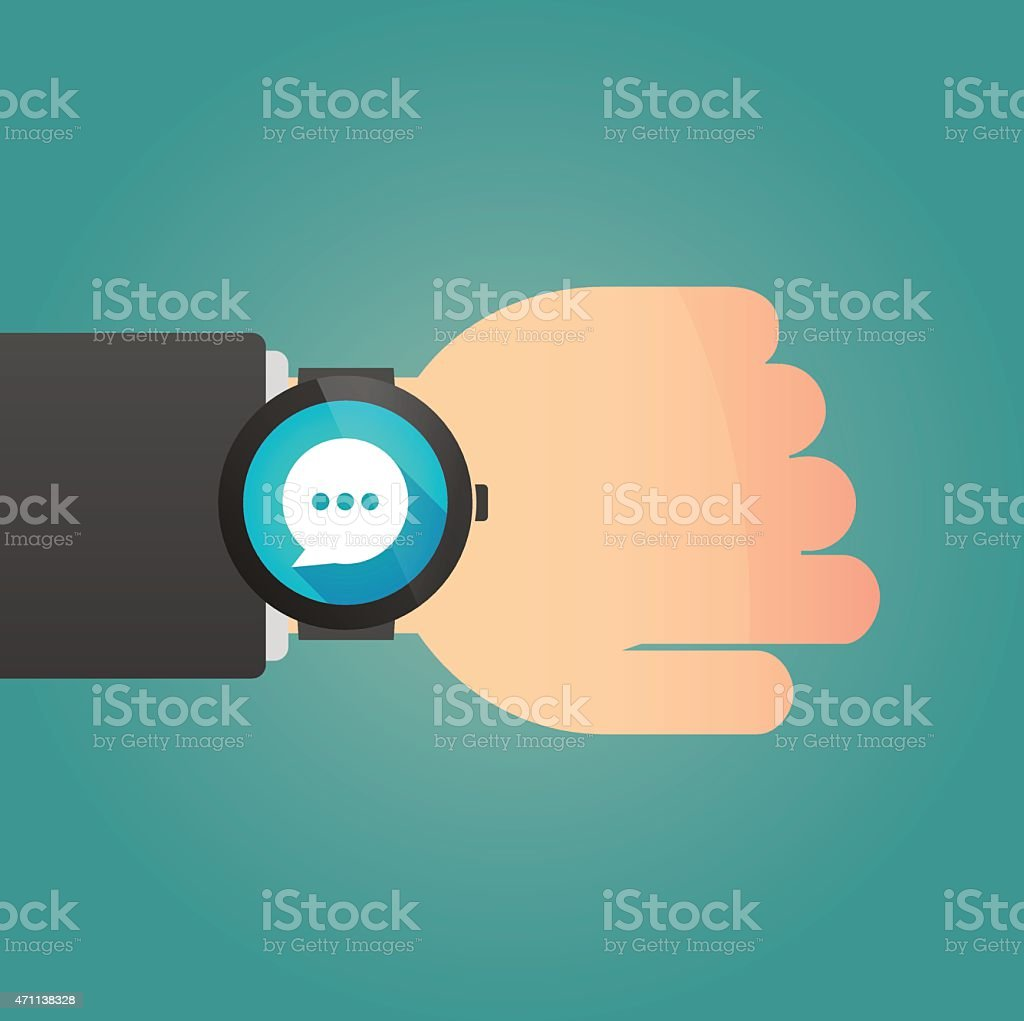 Hand with a smart watch displaying a comic balloon vector art illustration