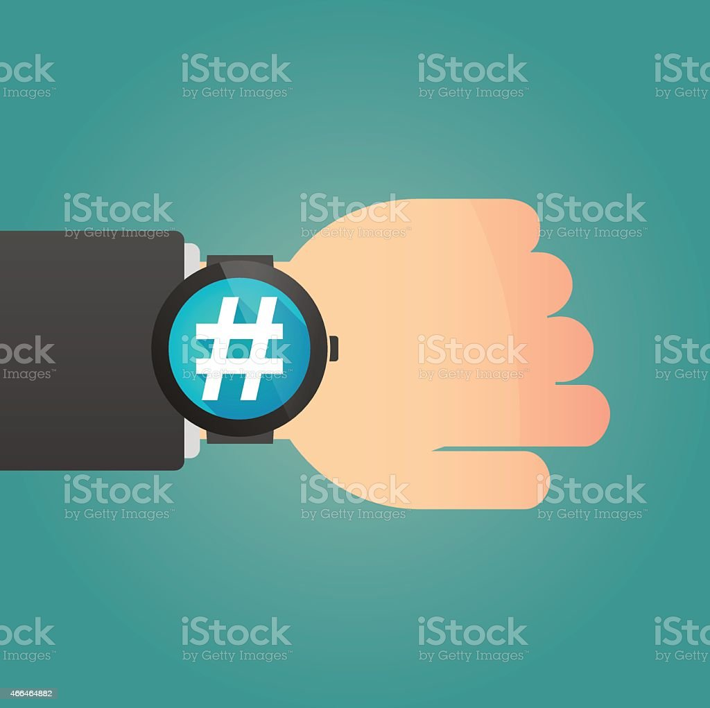 Hand with a smart watch displaying a hash tag vector art illustration
