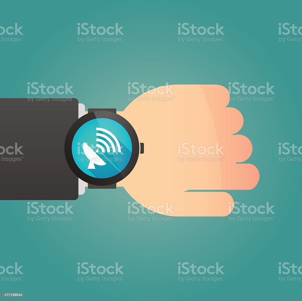 Hand with a smart watch displaying an antenna vector art illustration