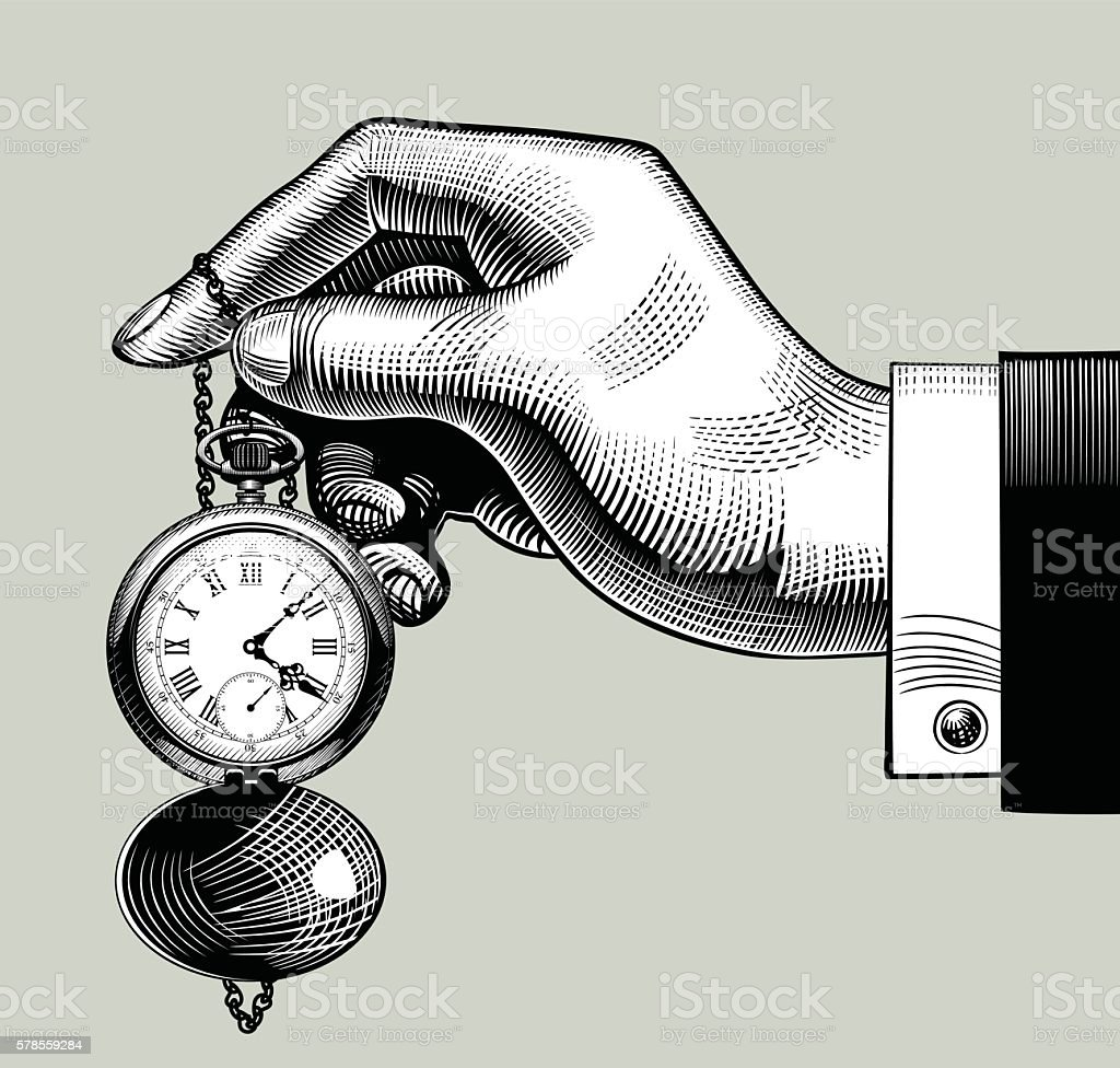 Hand with an old clock. Retro pocket watch vector art illustration