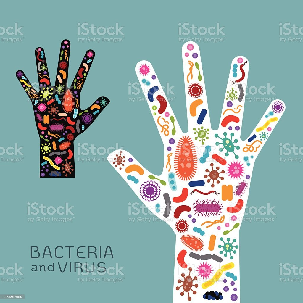 Hand  with bacteria and virus vector art illustration