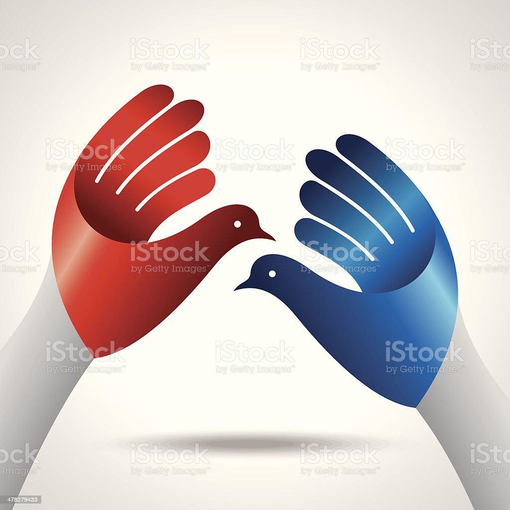 hand with bird, creative idea royalty-free stock vector art