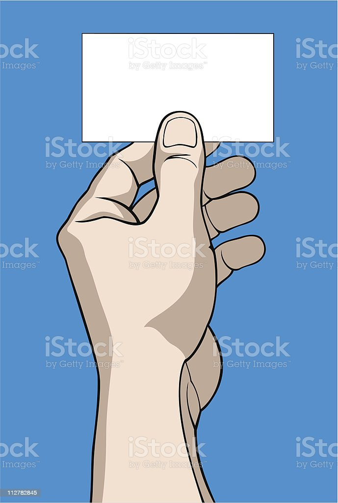 Hand with business card vector art illustration